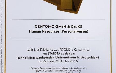 CENTOMO zum FOCUS-Wachstumschampion 2018 ausgezeichnet